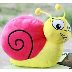16.5 Inch Stuffed Snail Plush Toy-Magenta and Blue Color