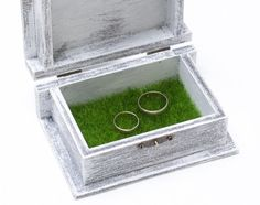 Wedding Ring Bearer Box Green Artificial Grass, White Ring Bearer Box Wedding Box, Pillow Alternative, I Do Personalized Ring Box ohtteam