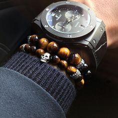 just one set of these mens beaded bracelets and your accessories are set for any outfit. Bracelets For Men, Beaded Bracelets, Skull Bracelet, Braided Leather, Smartwatch, Tigers, Natural Stones, Candy, Eyes