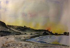 Beach,sunset and dog. Original watercolour, 345mm x 245mm