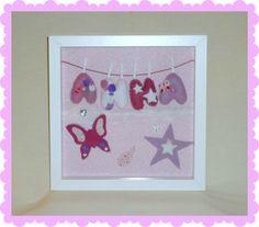 Cuadro en fieltro con estrellas y mariposas Felt ribba frame with starts and butterflies.