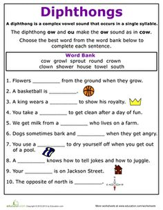 Printables Phonics Worksheets For Second Grade second grade articles and phonics worksheets on pinterest practice reading vowel diphthongs ow