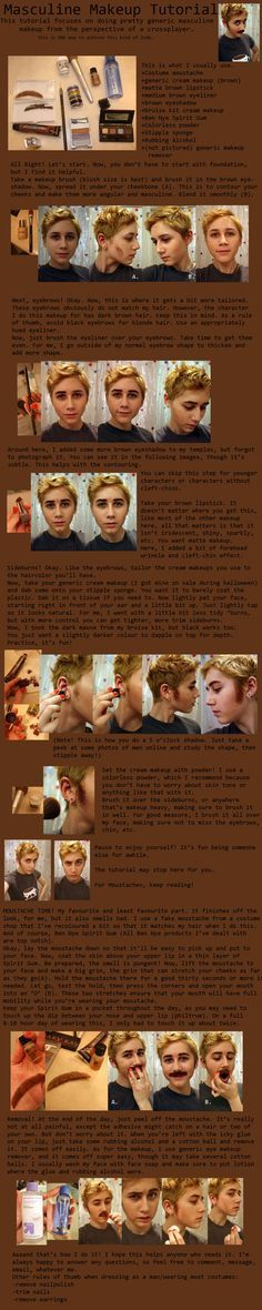 Drag King Masculine Makeup Tutorial I suggest blending on things like stubble. Use different shades rather than one shade so it looks more natural. Male Makeup, Sfx Makeup, Costume Makeup, Cosplay Makeup Tutorial, Cosplay Diy, Cosplay Ideas, Male Cosplay, Nightvale Cosplay, Drag King Makeup