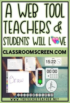 Classroomscreen.com: A Web Tool Teachers and Students will LOVE. Easy way to turn your browser into an interactive board. Digital stoplight, timer, calendar, random name picker, drawing tools, work symbols, text area, QR generator and more are all tools included in this free web tool. Qr Generator, Technology Tools, Digital Technology, Technology Integration, Teaching Technology, Technology Design, Technology Logo, Classroom Timer, Classroom Tools