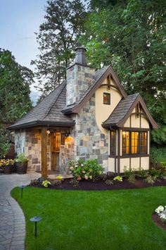 Where would you build this adorable French Country Storybook Cottage? This 300 square foot cottage is a perfect addition to your existing home with a single bedroom and fireplace, kitchenette and full bath. http://www.thehousedesigners.com/plan/storybook-5194/:
