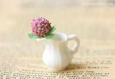 Dollhouse Miniature Flower - Purple Hydrangea Flower in White Porcelain Jug