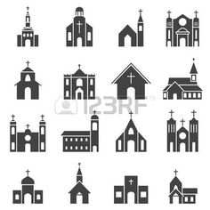 church of the holy family: church building icon vector set Illustration