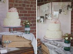 Pretty tea party themed bridal shower ideas on www.prettymyparty.com. Love this pretty ruffled cake with flower on top!