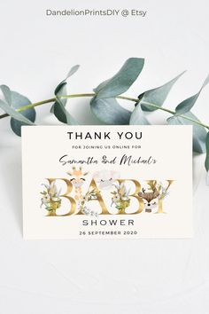 Introducing ELI - This cute baby shower thank you card, matches our adorable ELI Virtual Invitation, and is an editable instant download template. #babyshower #thankyoucard #babyshowerinvites