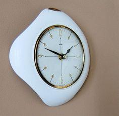 Super Vtg 50s 60s ATOMIC METAMEC Space Age wall CLOCK Eames Era white Sputnk BW | eBay