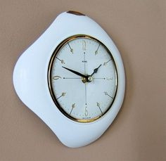 Super Vtg 50s 60s ATOMIC METAMEC Space Age wall CLOCK Eames Era white Sputnk BW | eBay