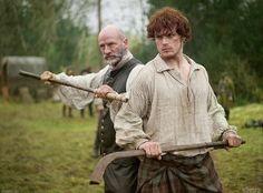 "Outlander Starz   Shinty Game. Graham McTavish as ""Dougal MacKenzie"" and Sam Heughan as ""Jamie Fraser"""