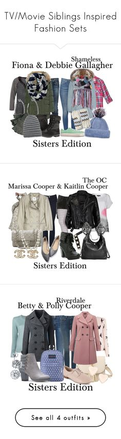 """TV/Movie Siblings Inspired Fashion Sets"" by sparkle1277 ❤ liked on Polyvore featuring RoÃ¿ Roger's, Parajumpers, prAna, Dsquared2, Jennifer Fisher, Barbour, UGG, Aéropostale, Chloé and Converse"