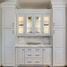 kitchen pantry cabinets Love it! White on White. Kitchen Buffet Cabinet, Kitchen Cabinet Design, Kitchen Redo, Home Decor Kitchen, Home Kitchens, Kitchen Remodel, Kitchen Dining, Wall Of Kitchen Cabinets, Dining Room Cabinets
