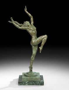 "Donald Harcourt De Lue (American, 1897-1988), ""Joy of Life"", patinated bronze, signed and inscribed ""sc 1981"", numbered ""9/12"", copyrighted ""1987"", and with a ""Tallix Foundry, Beacon, New York"" mark, on a Vermont verde marble base, h. 30-1/2"", w. 9-1/4"", d. 16""."