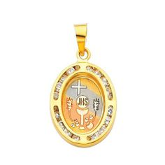 14K Yellow Gold Religious Communion CZ Cubic Zirconia Charm Pendant The World Jewelry Center. $78.00. High Polished Finish. Promptly Packaged with Free Gift Box and Gift Bag. Simply Elegant
