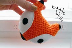 Curious and Catcat: Little Fox Rattle  This is an easy sewing project, and it includes a free downloadable pattern.