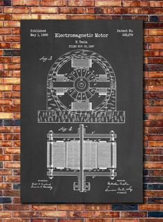Tesla Electric Motor Patent Print Art 1888 by CatkumaPatentPress on Etsy https://www.etsy.com/listing/234988631/tesla-electric-motor-patent-print-art