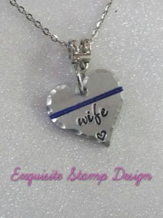 My dad my hero police officer pendant family pinterest dads thin blue line necklace police wife jewelry police wife gift police wife necklace wife of officer jewelry hand stamped handmade aloadofball Images