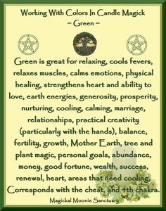 Candles:  Working with Colors in Candle Magick ~ Green.