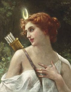 Guillaume Seignac - Diana the Huntress - paintings of Diana (Artemis) - Wikimedia Commons Artemis Goddess, Moon Goddess, Artemis Art, Goddess Art, Renaissance Kunst, Renaissance Paintings, Potnia Theron, Classic Paintings, Greek Paintings