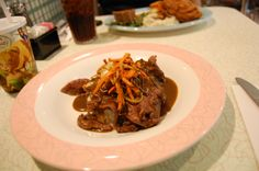 50's Prime Time - Moms Traditional Pot Roast served with mashed potatoes, carrots, celery and onion - Delicious!