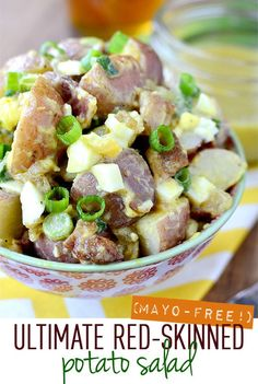 Ultimate Red Skinned Potato Salad is for the mayo haters! Filled with mouthwatering ingredients, this gluten-free salad is absolutely delicious served warm or cold. #glutenfree | iowagirleats.com