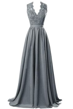 ORIENT BRIDE V-neck Open Back Lace Chiffon Evening Party Dresses Size 6 US Steel Grey