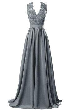 ORIENT BRIDE V-neck Open Back Lace Chiffon Evening Party Dresses Size 6 US Steel Grey
