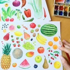 """1,382 Likes, 23 Comments - Kirsten Sevig (@kirstensevig) on Instagram: """"Fruit! Now I really want to eat some. . #Illustratorinminneapolis #watercolor #painting…"""""""