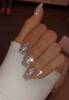 new years nails glitter ~ new years nails ; new years nails acrylic ; new years nails gel ; new years nails glitter ; new years nails dip powder ; new years nails design ; new years nails short ; new years nails coffin Cute Acrylic Nails, Cute Nails, Pretty Nails, White Acrylic Nails With Glitter, White And Silver Nails, Glitter French Tips, Black Nails, Clear Acrylic, Hair And Nails