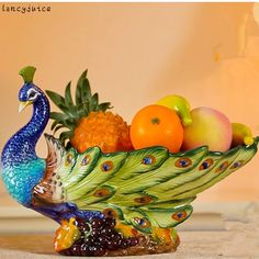 Classical Peacock Fruit Plate European Ceramic Court Styling Grade Pastoral Home Living Room Dining Decoration Authentic Peacock Wall Art, Peacock Painting, Peacock Decor, Peacock Design, Peacock Colors, Peacock Theme, Peacock Feathers, Pottery Painting Designs, Glass Painting Designs