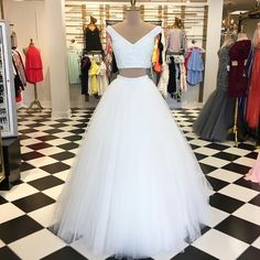 Simple Prom Dresses, Elegant Two Piece White Long Prom Dress Graduation Dress From petite prom dress styles to plus size prom dresses, short dress to long dresses and more,all of the 2020 prom dresses styles you could possibly want! Pageant Dresses For Teens, Classy Prom Dresses, Straps Prom Dresses, Elegant Bridesmaid Dresses, Prom Dress Stores, Hoco Dresses, Plus Size Prom Dresses, Tulle Prom Dress, Trendy Dresses