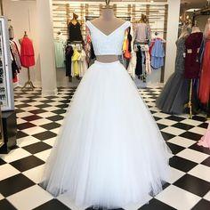 Elegant Two Piece White Long Prom Dress Graduation Dress P1363
