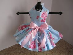 Dog Dress XS Sky Blue with pink Roses By by NinasCoutureCloset