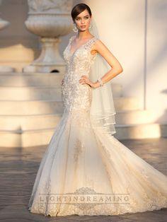Elegant Straps Pluging V-neck Beaded Lace Wedding Dresses with Deep V-back - LightIndreaming