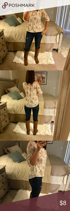 cute floral top see through so cami is needed. looks great with jeans and boots perfect for fall and throw a long cardigan over! size medium Tops Blouses