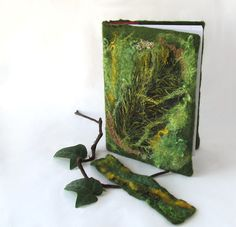 Felted journal notebook cover  Green moss autumn fall