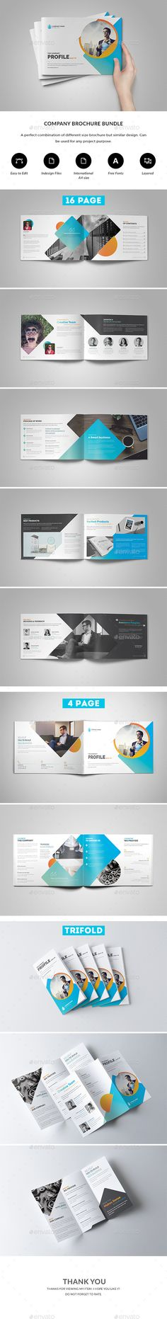 Company Brochure Bundle — InDesign INDD #light #proposal template • Available here ➝ https://graphicriver.net/item/company-brochure-bundle/20892427?ref=pxcr