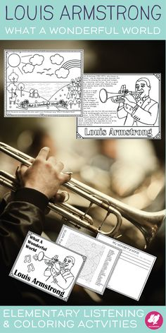 """Fun activities for Louis Armstrong's """"What A Wonderful World"""" that you can use with the children's book.  It's easy enough for a sub and kids love the coloring page."""
