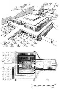 Tumba de Mentuhotep II, adjacently to Mortuary Temple Of Hatshepsut, ruler queen of Egypt for 50 years had this constructed. Ancient Egypt Art, Ancient History, European History, Ancient Artifacts, Ancient Aliens, Ancient Greece, American History, Ancient Egypt Architecture, Historical Architecture