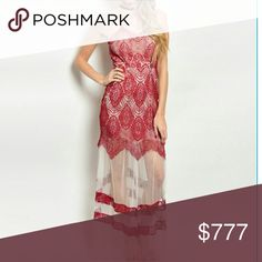 Lacey maxi dress Brand new Boutique item  Price is firm  Stunning maxi dress featuring coral colored lace and sheer material. Colors of coral and tan. Pair with your favorite heels and statement jewelry for a complete look!      Dresses