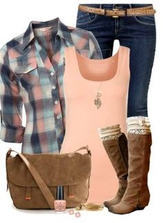 #fall #outfits / Pink + Plaid