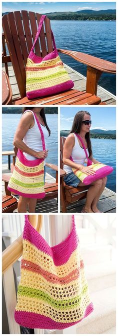 This quick and easy FREE crochet beach tote bag pattern is the perfect size for toting to the farmer's market or the beach this summer. Sponsored By: Grandma's Crochet Shop Crochet Market Bag, Crochet Shell Stitch, Crochet Diy, Crochet Handbags, Crochet Purses, Knit Or Crochet, Crochet Crafts, Crochet Bags, Crochet Baskets