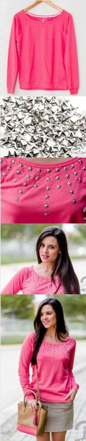 DIY Stars Pullover Imagine this done with the bleach effect. Diy Clothes Tops, Remake Clothes, Diy Clothes And Shoes, Clothes Crafts, Sewing Clothes, Fast Fashion, Diy Fashion, Fashion Outfits, Fashion Design