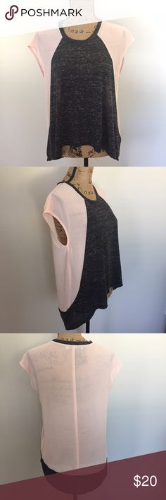 Chloe K Slub Hi Lo Colorblock Top Pink semi sheer with gray marled slub t-shirt feel/look detail hi lo shirt by Chloe K from Nordstrom. Size XS but fits oversized and works well for a small so this is what I have listed it as. My mannequin is a size 6 for reference. Worn once and in excellent condition. ❌Trades/holds❌ I ship within one business day of your order. I accept REASONABLE offers. Poshmark rules only. Thank you for looking! 🚭🐩 B1 Chloe K Tops