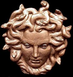 Stunning plaque of the fearsome lady. Medusa, in Greek mythology was a mortal woman transformed into a Gorgon, a dragon-like creature with snakes for hair. Medusa was slain by Perseus. Medusas head was so hideous-even in death-that any beholder was turned to stone. Her image was later used by Athena to ward off evil and devious men, which is probably where Versace got their ideas. This Striking 3D wall plaque is made from cast stone and hand painted copper. Very detailed .The back is flat…