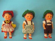 Three Vintage ARI German Vinyl Doll House Dolls in Cellophane