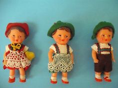 Three Vintage ARI German Rubber Doll House Dolls in Cellophane