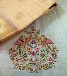 We absolutely love pattu sarees. We are working hard to make sure we do justice to the heritage handloom of our state.our hope is that… Embroidery Neck Designs, Hand Work Embroidery, Simple Embroidery, Creative Embroidery, Gold Embroidery, Fancy Blouse Designs, Blouse Neck Designs, Saris, Pattu Saree Blouse Designs